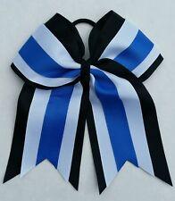 "8"" Black, White, Blue, Big Cheer Bow, Softball, Cheerleading, Soccer, sports"