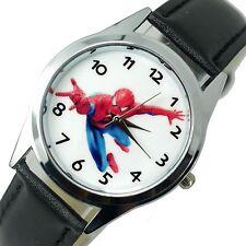 Spiderman Spider Superhéroe Reloj De Acero Inoxidable Reloj De Cuero Redondo Película Dvd
