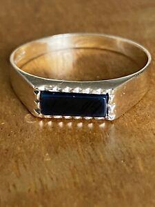 Ladies Vintage  9ct Gold & Onyx Signet  Ring ~ Size M.5 ~ Fabulous !!