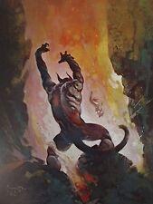 Vintage Frank Frazetta Art FIRE DEMON 1976 Full Color Plate Hell Devil Tail Horn