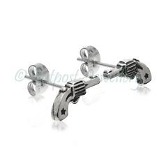 Gun Ear Stud Earrings For Men Boy Hip Hop Cowboy Surgical Stainless Steel 316L