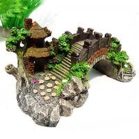 1 Pc Aquarium Decors Bridge Pavilion Tree For Fish Tank Resin Ornaments Gifts