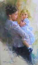 ORIGINAL KONSTANTIN RAZUMOV OIL PAINTING FOR SALE LOVELY YOUNG WOMAN & CHILD!