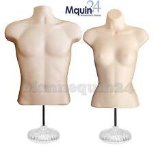 Male Female Mannequin Torsos Flesh 2 Acrylic Stands 2 Hanging Hooks