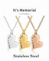 Urn Heart Ashes Cremation Pendant Jewellery Keepsake Necklace Funeral Keepsake