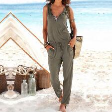 2017 Women Summer Sport Playsuit Sleeveless Long Pants Romper Jumpsuit Beachwear