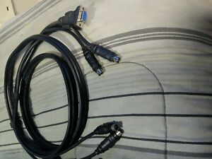 6 Ft 3-in-1 KVM Switch Cable w/ 6pin PS2 Keyboard Mouse & HD15 VGA Male to Male