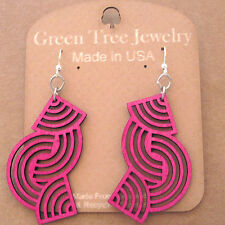 Tangled Directions Fuchsia Laser Cut Wood Earrings Green Tree COMBINED SHIPPING