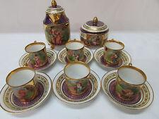 Antique Royal Vienna Porcelain Demitasse 16 Piece Victorian Set Signed Gorgeous