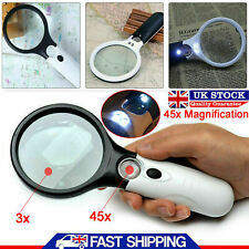 Magnifying Glass 45xHandheld Magnifier Reading Magnifying Glass with 3 LED Light