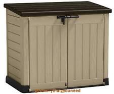 Plastic Storage Box Garden Outdoors Shed Furniture Waterproof Lawn Wooden Look