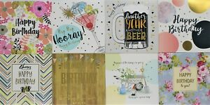 Pack of 8 Mixed Assorted Happy Birthday Cards Female & Male Greeting Card
