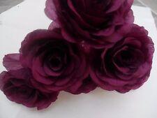 6 x plum FAUX SILK ROSE FLOWERS (NOT FOAM)BRIDAL/CRAFT/BUTTONHOLE/BOUQUET