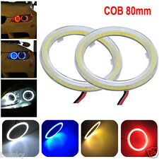 2PCS White 80MM COB LED Angel Eyes Headlight Halo Ring Warning Lamps with Cover