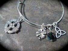 Celtic Cross Adjustable Bangle Bracelet with Celtic knot Shamrock charms Irish