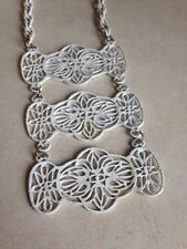 Vintage Jewelry White Enamel Lace Chain design large Pendant Necklace