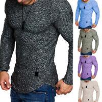 Mens Long Sleeve Casual T Shirt Casual Gym Slim Fit Muscle Tee Tops Blou YAN