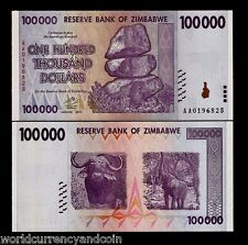 ZIMBABWE 100000 DOLLARS P75 2008 ELEPHANT UNC 100,000 ANIMAL WILD TRILLION SERIE