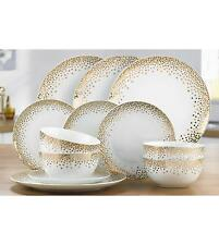 12 PIECE WHITE GOLD PORCELAIN ROUND DINNER SET SERVICE CHRISTMAS DINING