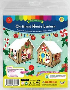 Christmas House Lantern Kit - Santa or Snowman Wooden with Paints