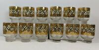 """Culver Glassware 12 glass set 22 kt. Valencia low ball footed 3"""" gold green dmnd"""