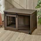 Barn Door Pet Crate - End Table with Sliding Door for Dogs, Cats
