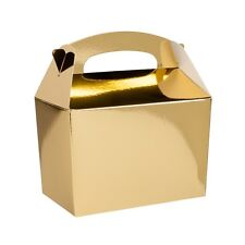 10 Childrens Gold Meal Box Bag ~ Wedding Favour Party Snack Food Boxes