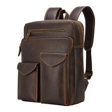 "Men Real Leather Backpack 16"" Laptop Travel Bag Hiking School Bag Daypack TOTE"