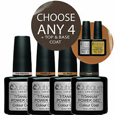 QUTIQUE Gel Nail Polish Colour Kit/Pack/Set -ANY 4 COLOURS with Base & Top Coat