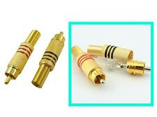 100pcs Gold Free Solder RCA Plug Audio Male Connector with Spring BNC adapter