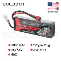 5000mAh 7.4V 2S 60C LiPo Battery Deans Plug Hardcase for RC Car Truck Boat Buggy