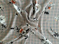 Top Quality 100% Viscose Dress Fabric - Dog Tooth Check Floral  - 145cm wide
