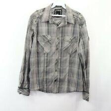 BKE Buckle Mens Medium Slim Fit Stretch Long Sleeve Plaid Button Shirt Gray