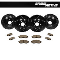Front+Rear Black Drill Slot Brake Rotors And Ceramic Pads For EX35 G35 G37 350Z