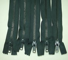 "5 - 8"" Pine Green # 5 Closed End Plastic Teeth Zippers Lot #227"