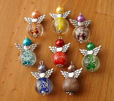 8X MIX VETRO snowing BALL Stile Natale Inverno angel charms perline argento ali