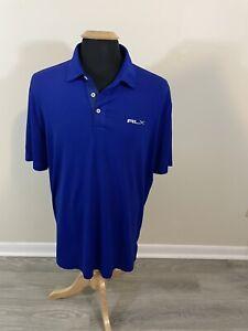 RLX Ralph Lauren Polo Mens Large Blue Solid Golf Shirt