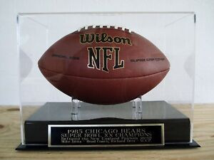 Chicago Bears Football Display Case With A Super Bowl XX Engraved Nameplate
