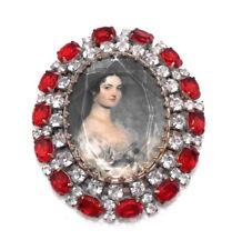 Strassbrosche Crystal/Rot mit Frauenporträt · Unikat aus Gablonz/Böhmen · #976