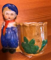 Adorable Vintage Porcelain Little BLUE CAP & PANTSDUTCH BOY & VASE Made In Japan