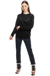 SWEET MATILDA Sweatshirt Size S Black Sequined & Embellished Trim Crew Neck