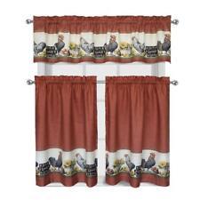 3 Piece Rooster Window Treatment Kitchen Curtain Panel Tier & Valance Set