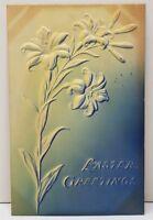 Easter Greetings Beautiful Heavy Embossed Airbrushed Flower 1908 Postcard C18