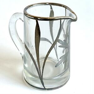 """Vintage Creamer Thick Glass w/ Silver Floral Overlay Nouveau Style 3.75"""" Tall"""