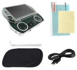 4pc Sony PSP GO Bundle Clear Case Shell + Charger + Screen Protector + Pouch