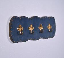 """*20"""" Vintage French Blue Velvet Coat Rack Hall Tree with Brass Hooks"""