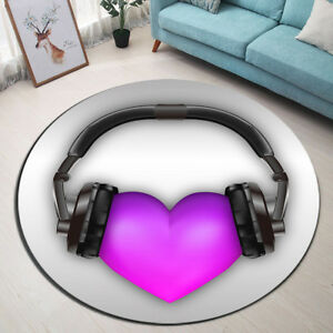 Purple Heart Headset Round Carpet Area Rugs Living Room Porch Floor Beach Mat