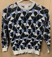 Vintage Protege Knit Sweater; Mens XL; Coogi Style; Argyle; Blue Black