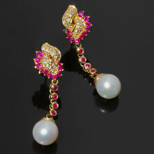 Pearl Drop Earrings with Rubies and Diamonds