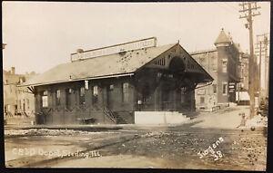 Rare 1910 Sterling Illinois CB&Q RR Railroad Train Depot Real Photo Post Card